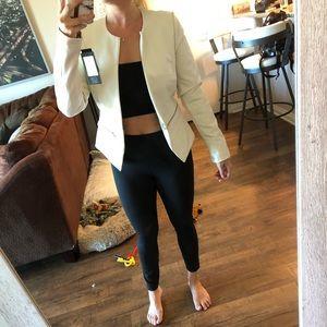 NWT Black rivet white leather alternative jacket